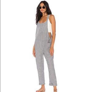 Thin airy striped coveralls